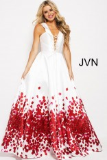 062c505a26f Size 2 Off White-Red JVN Prom JVN59187 Deep V Lace Up Gown