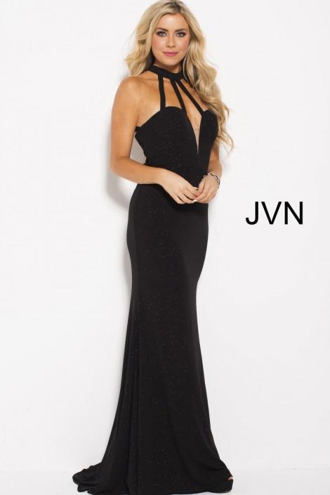 Size 8 Black JVN Prom JVN60600 High Neck Strappy Gown: French Novelty