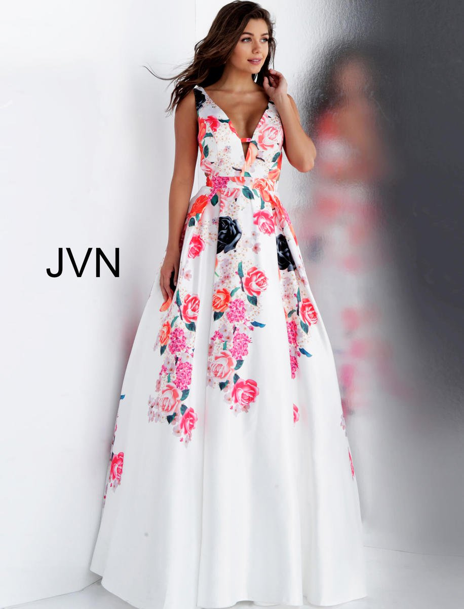 jvn prom jvn66068 floral ball gown with cut outs  french