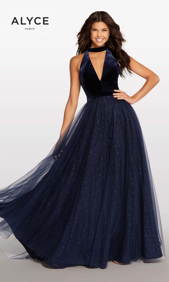 313810f6fc9 Kalani Hilliker by Alyce KP105 Velvet Tulle Prom Gown  French Novelty