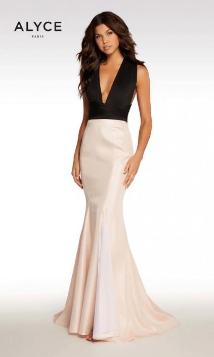 e58a9e87b9e Kalani Hilliker by Alyce KP108 Plunging V Mermaid Dress  French Novelty