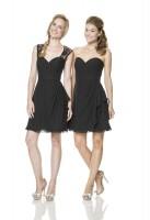 Size 16 Black Bari Jay L-1513 Short Bridesmaid Dress with Lace image