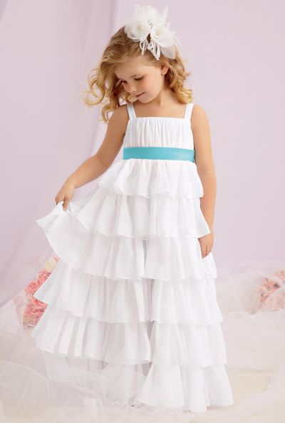 Sweet Beginnings L124 Tiered Chiffon Flower Girl Dress by Jordan ...