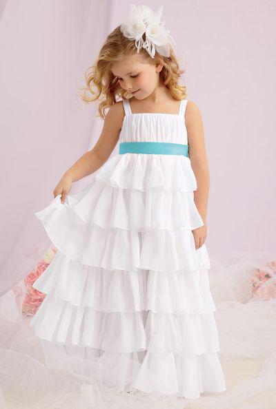 Sweet Beginnings L124 Tiered Chiffon Flower Girl Dress by Jordan ...
