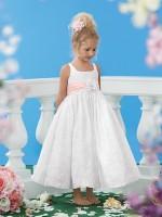 Size 6 White-Pink Sweet Beginnings L447 Two Tone Flower Girls Dress image