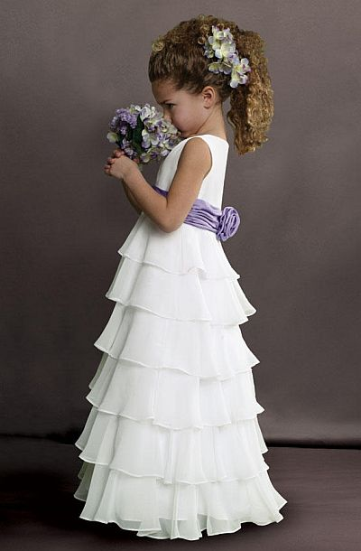 Sweet Beginnings Tiered Chiffon Flower Girls Dress L503: French ...