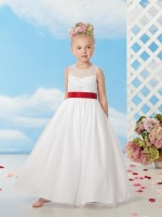 Size 3 White-Cherry Sweet Beginnings L514 Beautiful Flower Girls Dress image