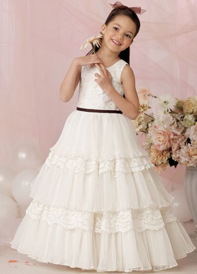 86315dde94 Jordan Sweet Beginnings Tiered Organza Flower Girl Dress L602  French  Novelty