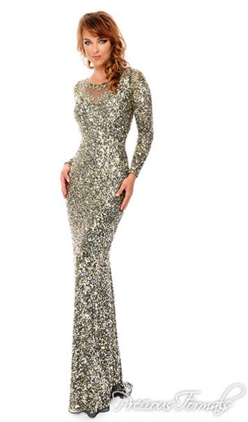 Lux Gal By Precious Formals L9200 Beaded Illusion Gown French Novelty