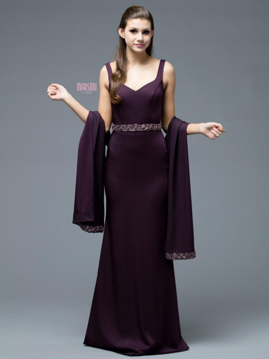 Marsoni by Colors M208 Evening Gown with Shawl: French Novelty
