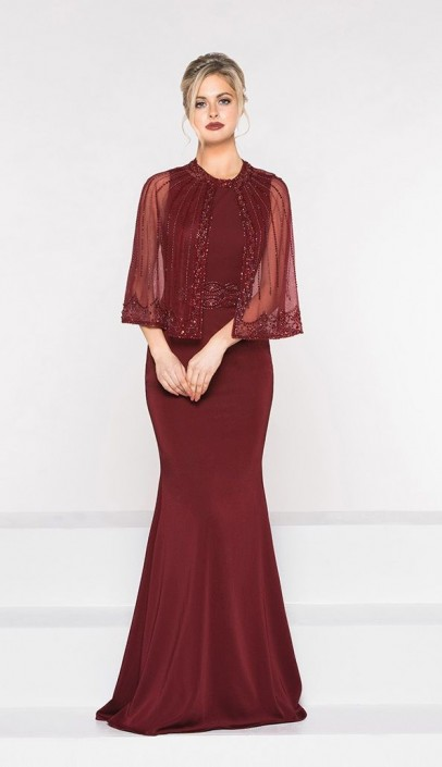 a78e380d37a29 Marsoni by Colors M232 MOB Dress with Sheer Cape: French Novelty