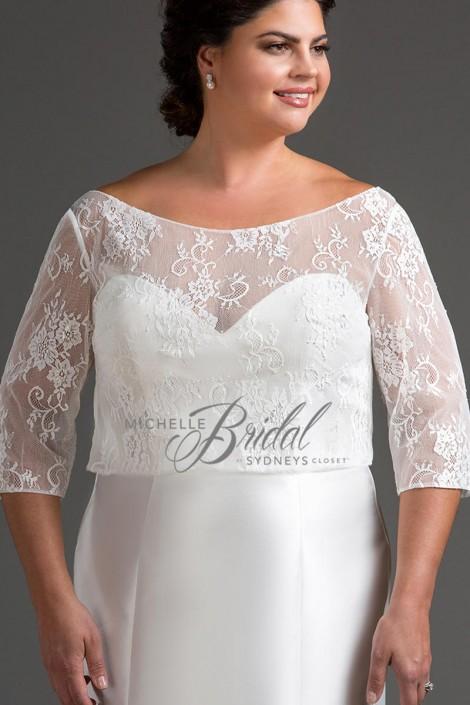 Michelle Bridal Mb2202 Plus Size Lace Wedding Dress Topper