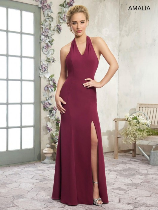 86627fda57 Amalia by Marys MB7003 Tie Back Halter Bridesmaid Dress  French Novelty