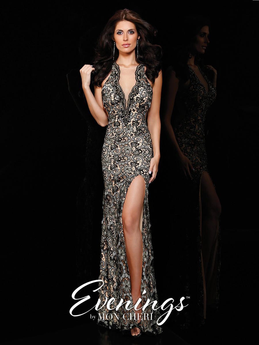 Evenings by Mon Cheri MCE11624 Metallic Lace Gown: French Novelty