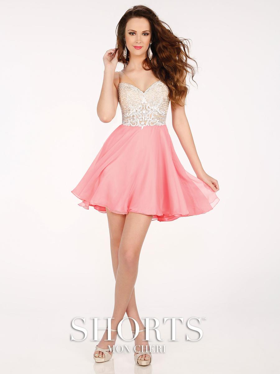 Shorts By Mon Cheri Mcs11604 Beaded Chiffon Prom Dress