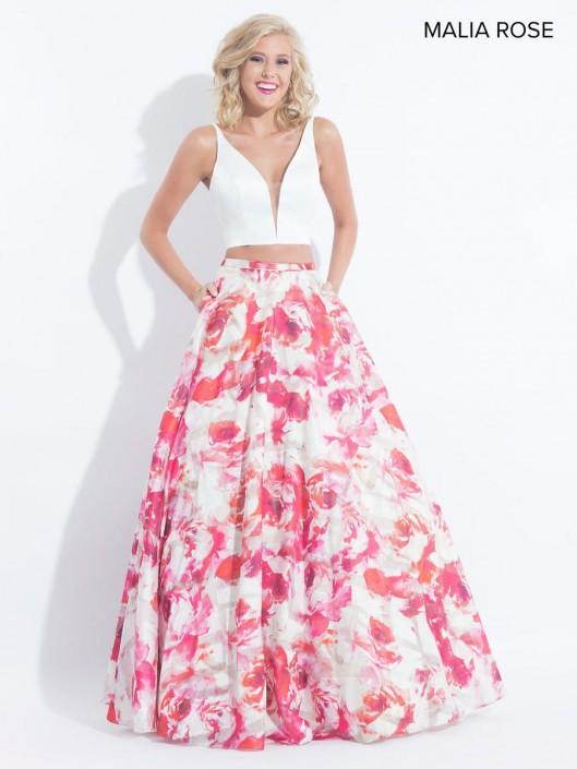 199b96fa677 Malia Rose MP1004 Floral Organza 2 Piece Prom Dress  French Novelty