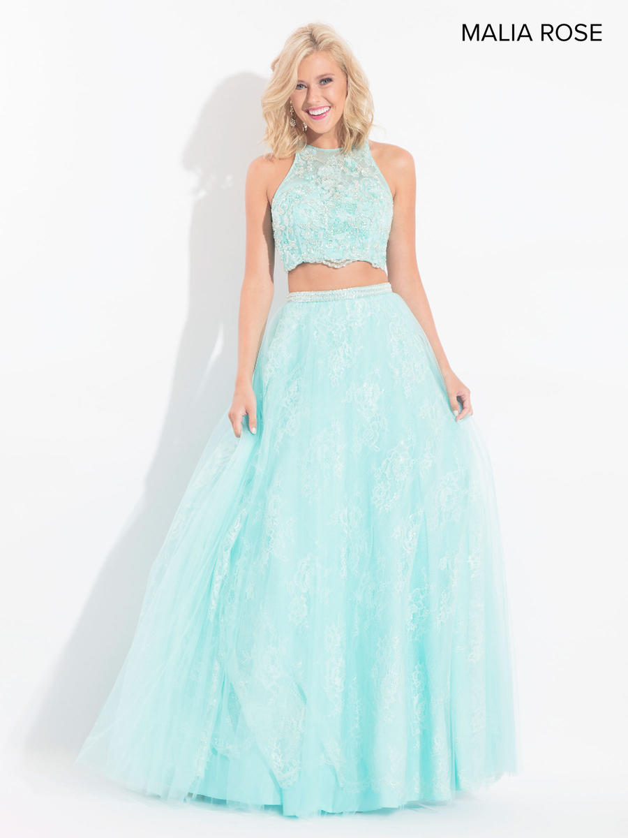 Malia Rose MP1014 Lace Crop Top Prom Dress: French Novelty