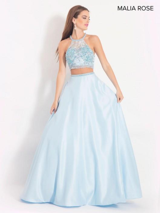 89515e92147 Malia Rose MP1018 Lace Crop Top Prom Dress: French Novelty