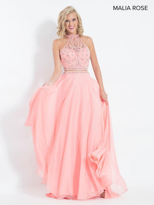 777e1298bc59 Size 6 Coral Malia Rose MP1060 Sheer Beaded Crop Top Prom Dress: French  Novelty