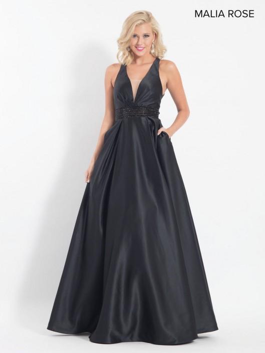 Size 12 Black Malia Rose Mp1064 Deep V Neck Prom Dress French Novelty