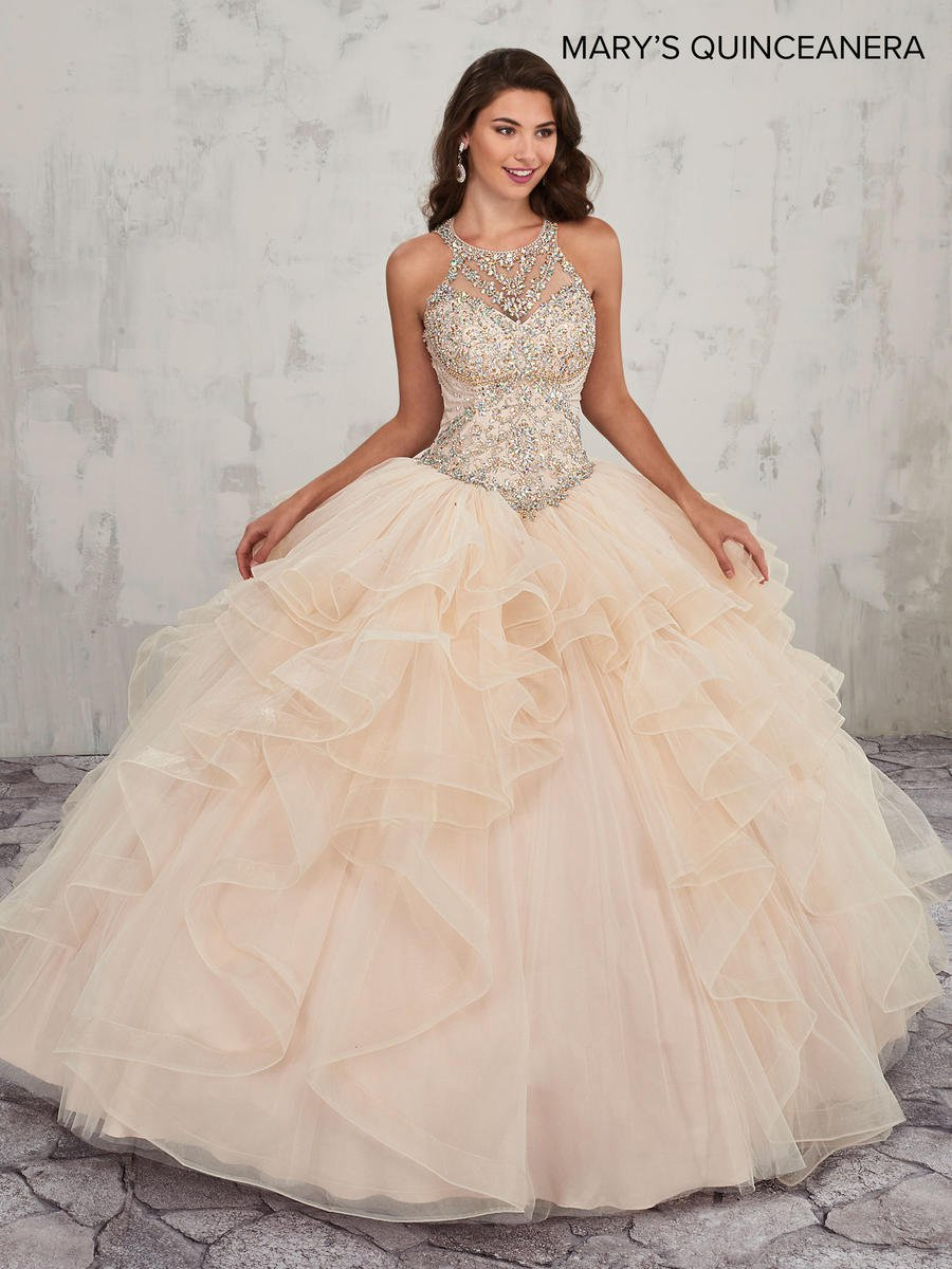 Marys MQ2011 Ruffled Quinceanera Dress with Train: French ...