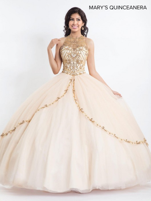 d8ef27c5862 Marys MQ2021 Gold Beaded Quinceanera Dress  French Novelty