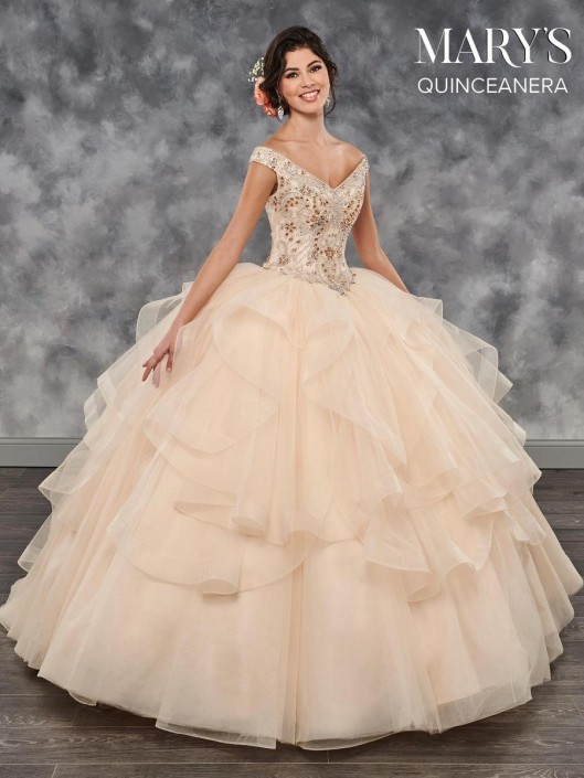 7ebf26031ce Marys MQ2027 Quinceanera Dress with Flounce Skirt  French Novelty