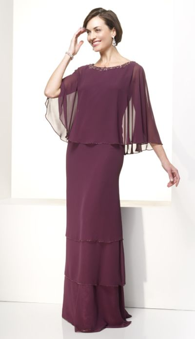 Jean de lys chiffon tiered cape long mob dress 29360 by for Cape designs