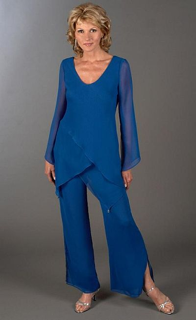 Plus Size Mother Of The Bride 2pc Tunic Pant Suit 43953