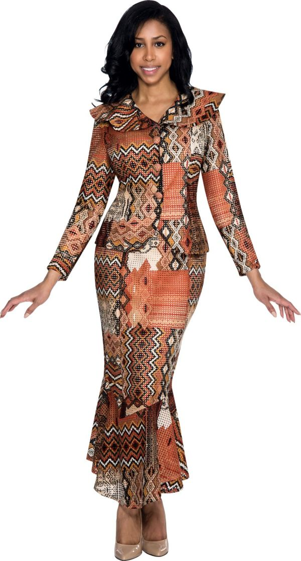 Nubiano N93642 Womens Aztec Patch Church Suit French Novelty