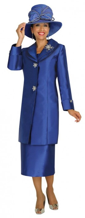 Nubiano N95842 Womens Navy Blue Church Suit With Long Jacket French