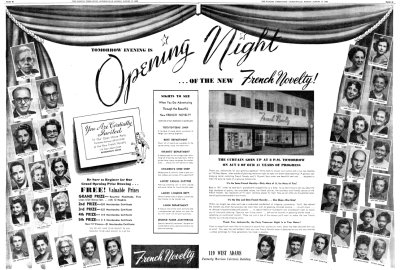 Grand Opening Ad in 1952 on 119 West Adams Street in Jacksonville, FL
