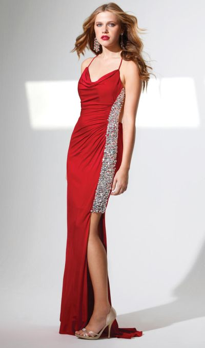 Terani P1549 Graceful Cowl Neck Prom Dress With Crystals French Novelty
