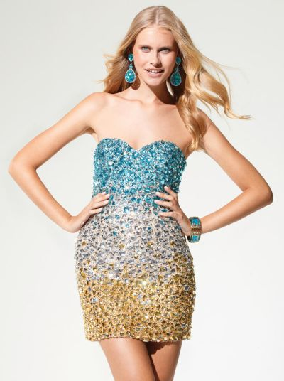 Crystal Teal Ombre Dress