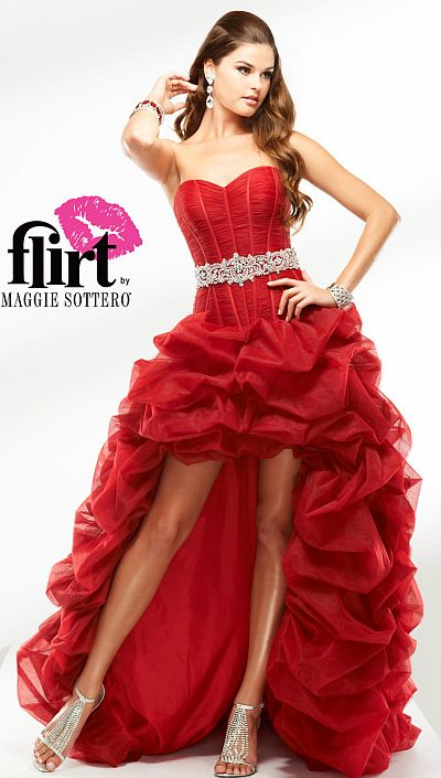 Flirt High Low Tulle Corset Prom Dress P1630: French Novelty