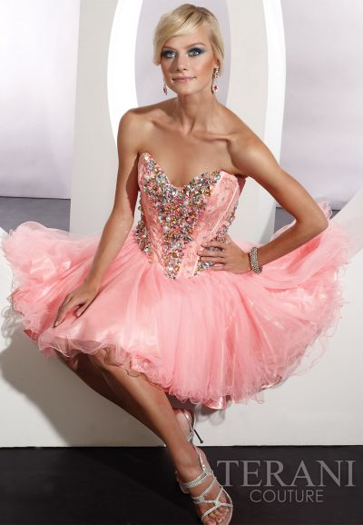 Terani Beaded Corset Short Prom Dress P192: French Novelty
