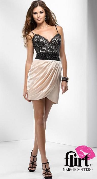 Flirt Short Slinky Satin and Lace Prom Dress P2686