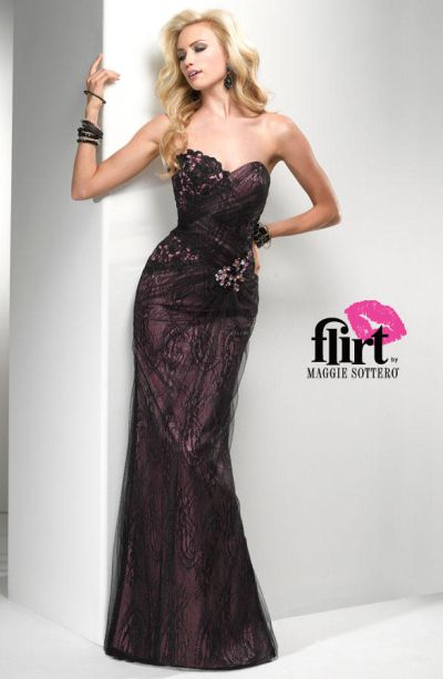 Flirt P2789 Fit And Flare Evening Dress With Lace French