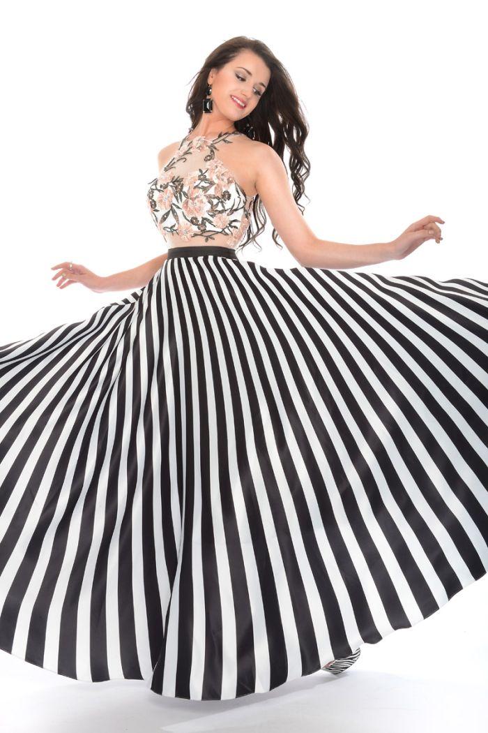 45b965462f5 Precious Formals P35094 Satin Stripe Prom Dress  French Novelty