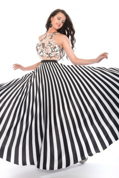 Precious Formals P35094 Satin Stripe Prom Dress French Novelty