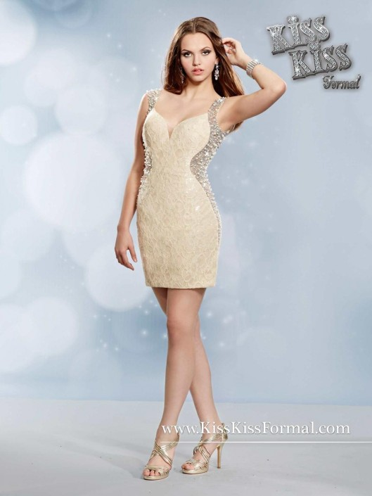 Kiss Kiss P3750 Short Lace Prom Dress: French Novelty