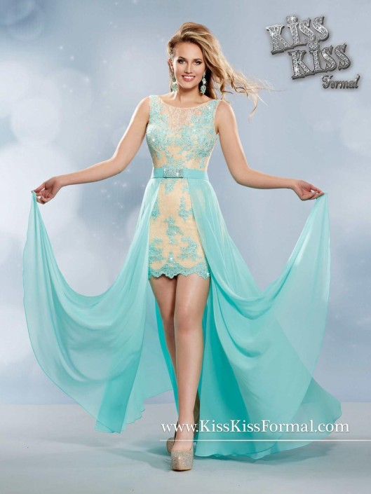 Kiss Kiss P3761 Hi-Low Prom Dress with Removable Skirt: French Novelty