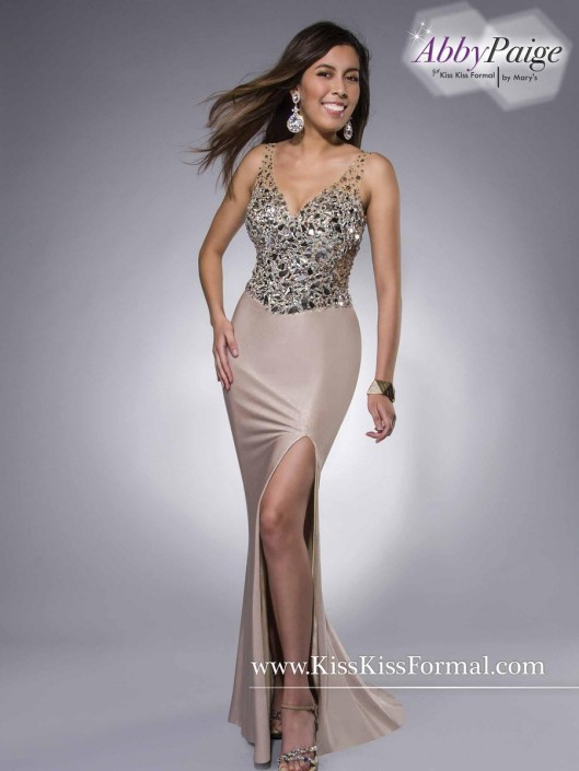 Kiss Kiss by Marys P3831 Shimmering Prom Dress: French Novelty