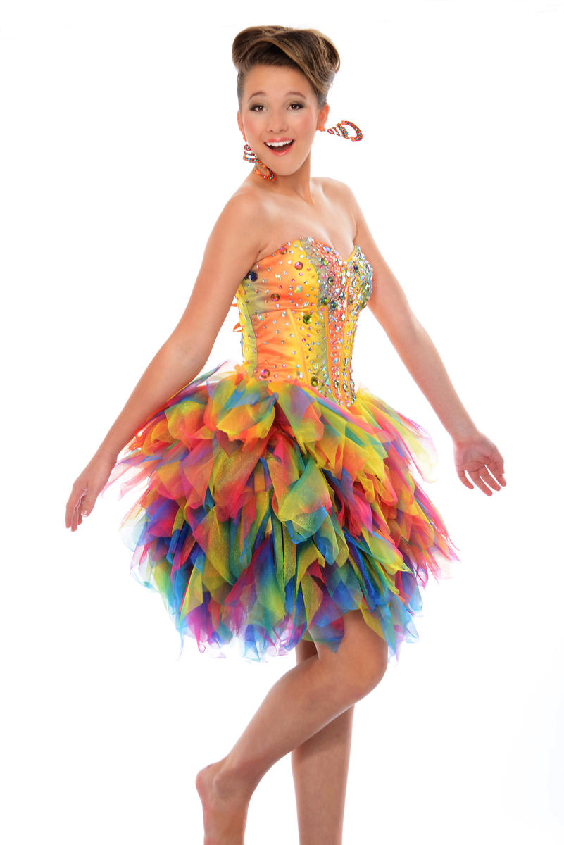 Precious Formals P46625 Short Tiered Prom Dress French Novelty