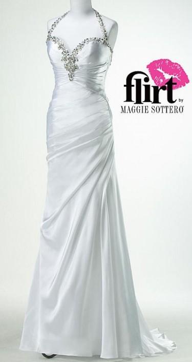 Flirt Beaded Satin Body Hugging Prom Dress P4684