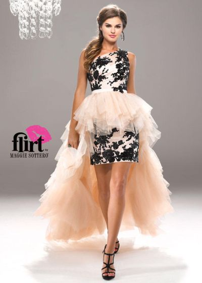 Flirt P4742dt Sequin Cocktail Dress With Removable High Low Tulle