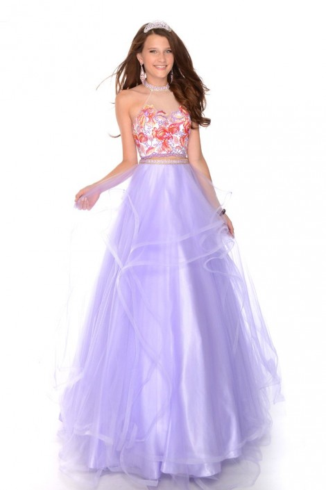 Precious Formals P57043 Halter Floral 2 Piece Prom Dress French Novelty