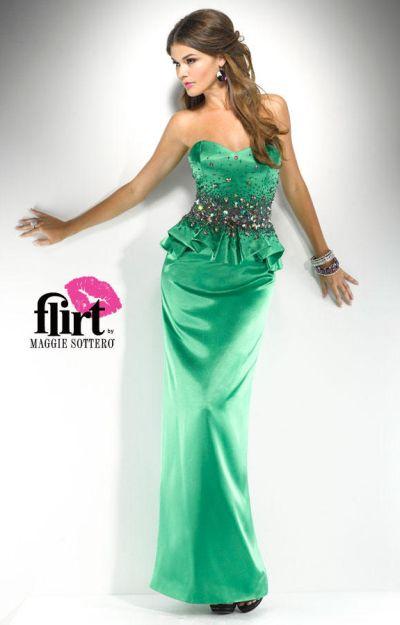 Flirt P5711 Satin Dress With Peplum By Maggie Sottero