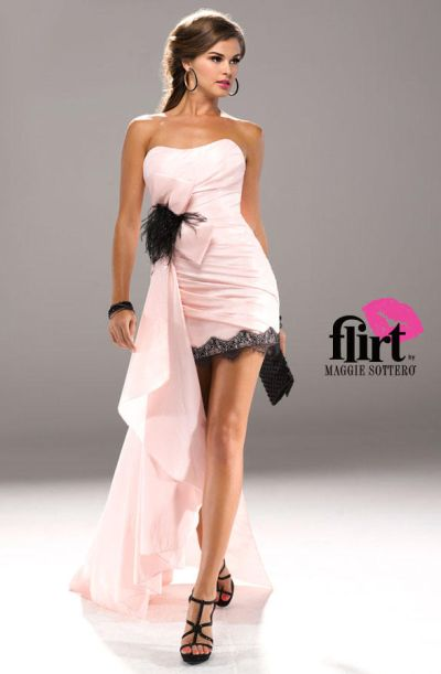 Flirt P5736 High Low Feathers And Lace Dress With Side Train French
