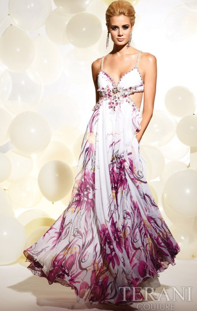 Terani Ivory Print Prom Dress with Side Cutouts P624: French Novelty